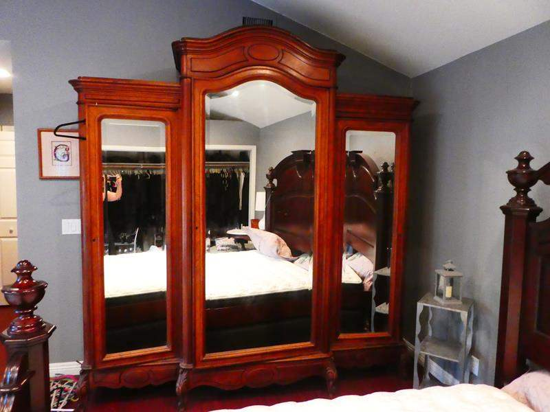 """Lot # 216-Ultra large wardrobe closet, solid wood with mirror, 97 1/2"""" high, 91""""wide, 25""""deep (approx) (main image)"""