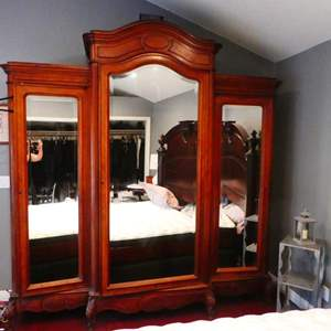 """Lot # 216-Ultra large wardrobe closet, solid wood with mirror, 97 1/2"""" high, 91""""wide, 25""""deep (approx)"""