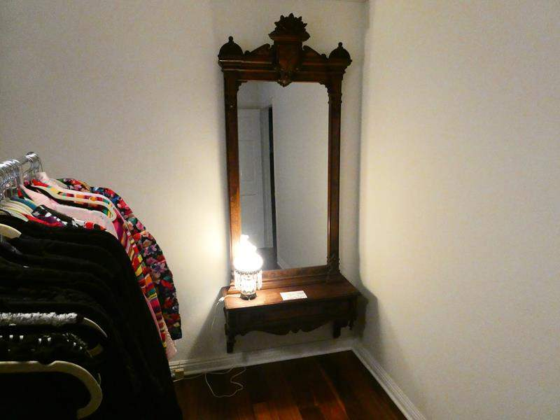 """Lot # 165-Antique mounted mirror and lamp 34""""wide, 83"""" tall (main image)"""