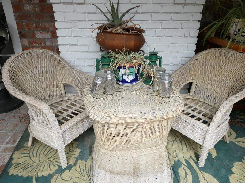 Lot # 307-Wicker yard furniture (used and needs pads,but nothing broken)   Standing plant/pot and other yard items. (main image)