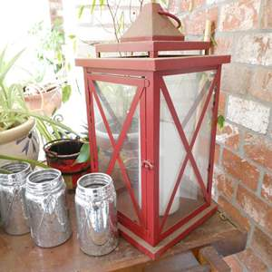 Lot # 308-Wood Stand with several planted pots, lantern, bird house and more.