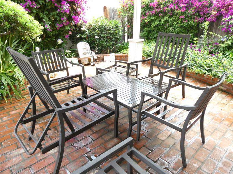 "Lot # 316-Aluminum gazebo furniture, 4 chairs (2 recline), table 44""x28"", 2 ottoman 22'x28"" (main image)"