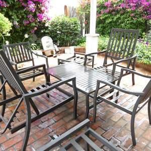 "Lot # 316-Aluminum gazebo furniture, 4 chairs (2 recline), table 44""x28"", 2 ottoman 22'x28"""