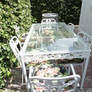"""Lot # 318- White aluminum pation furniture (oxidized), 6 chairs & glass top table 60'x34""""'x34"""""""