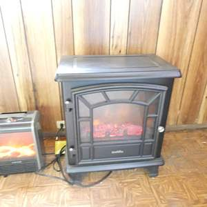 """Lot # 320-2 plug in heaters  Fireplace style duraflame heater 20""""x 24 """" (2 heaters total)"""