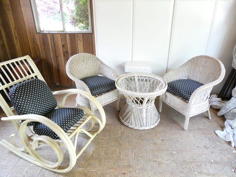 Lot # 321-White wicker furniture with table hamper & rocking chair. used, but hood condition. (table missing glass top) (main image)