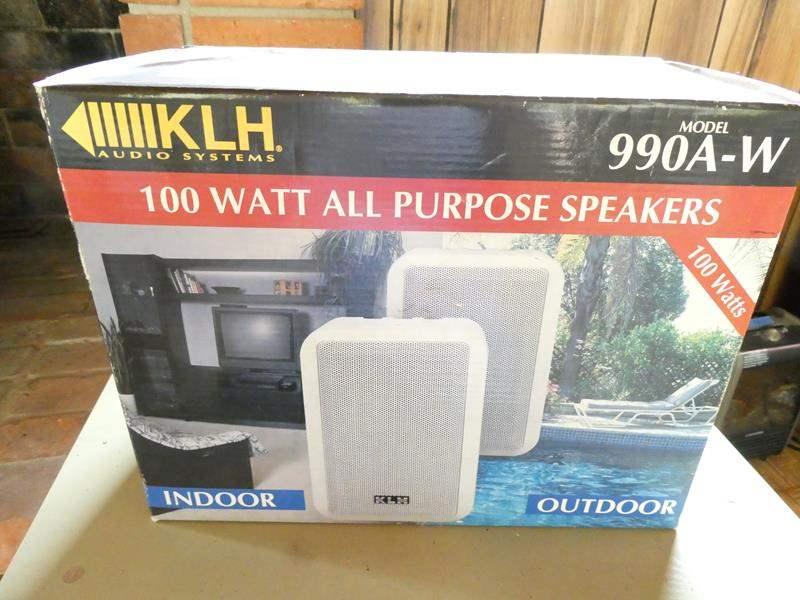 Lot # 323- Speakers, 1 pair of 100 watt indoor/outdoor (new in box) (main image)