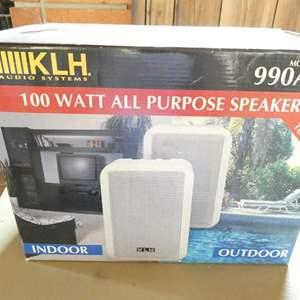 Lot # 323- Speakers, 1 pair of 100 watt indoor/outdoor (new in box)