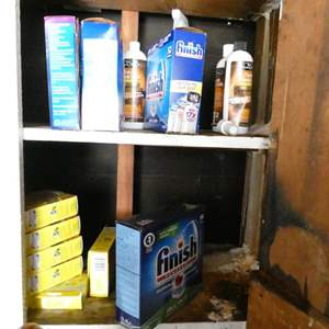Lot # 329-Miscellaneous cleaning products napkins foil and more.