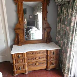 """Lot # 219-Beautiful antique dresser with mirror, marble top, solid wood, bring tools and help with strong backs. 21""""wide X 8' t"""