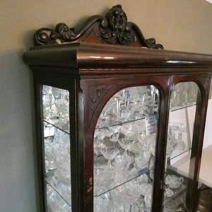 Lot # 11-Vintage solid wood hutch. Curio cabinet. Great condition