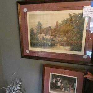 """Lot # 13- 2 Framed artwork: """"Ann Hathaway cottage"""" and original etching by F.R. Hutchenson"""