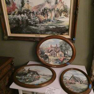 Lot # 14- Marty Bell collection: 4 paintings, 1 larger painting, 3 small oval paintings