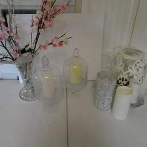 Lot # 36- Decorative candles and decor, crystal vase