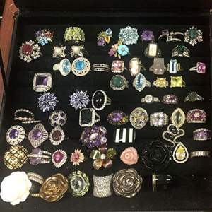 Lot # 339- Jewelry! Rings! All sizes Costume jewelry
