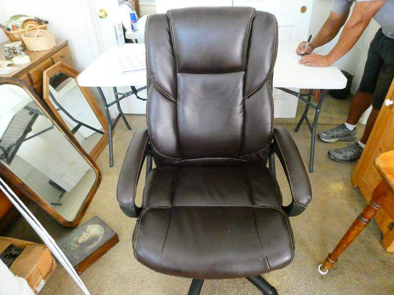 Lot # 107-Brown leather office chair (main image)