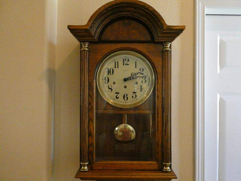 Lot # 2- Antique wood accent table and wood wall clock (main image)