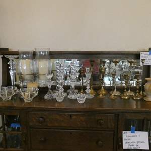 Auction Thumbnail for: Lot # 6- A LOT of candle holders! Brass, crystal, wood, and more