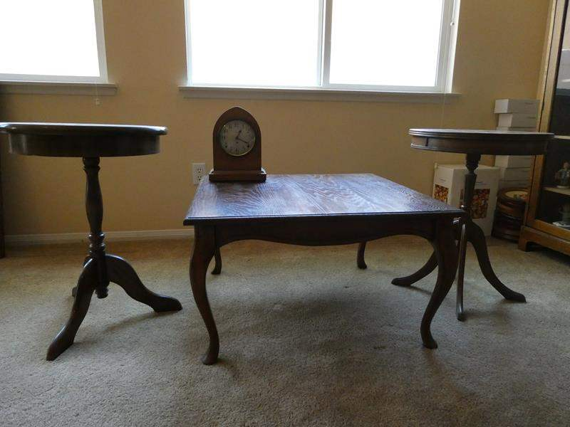 Lot # 11-Vintage coffee table, two end tables and clock (main image)