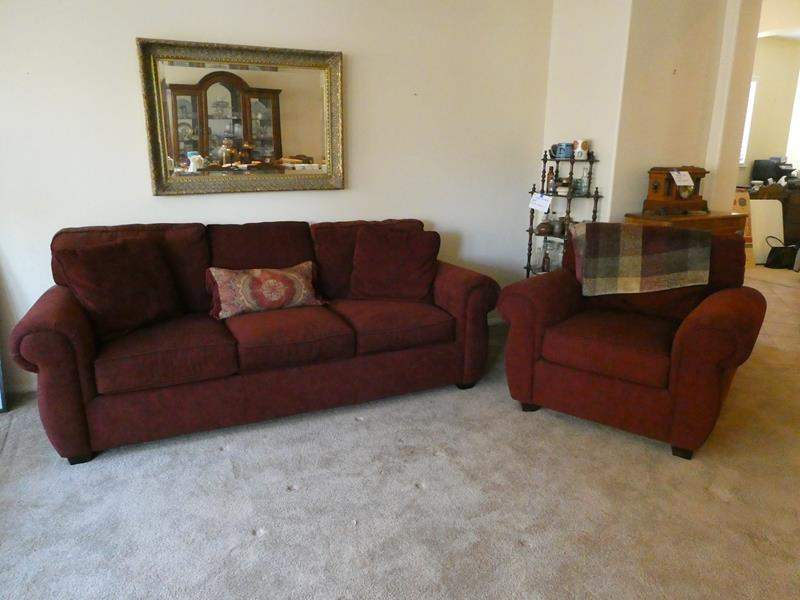 Lot # 12-Burgundy sofa and over sized chair. Great condition (main image)
