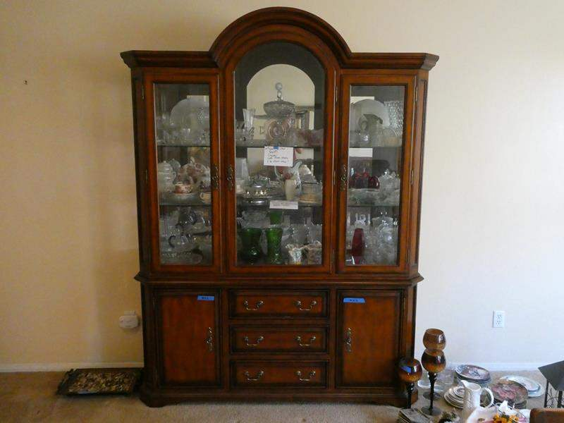 Lot # 26- Solid wood china hutch- great condition, very sturdy (contents not included) (main image)
