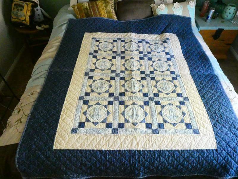 "Lot # 139-Beautiful blue & beige quilt 60"" X 50"" (main image)"