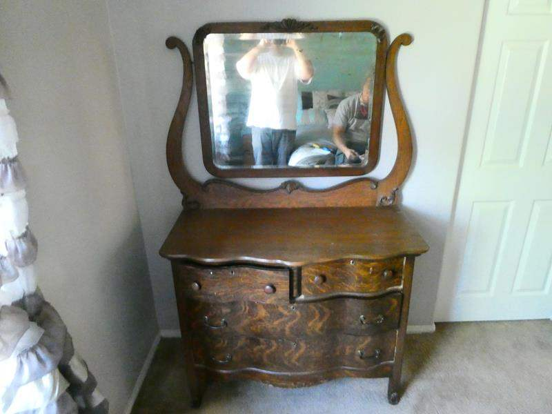 Lot # 143-Solid wood dresser with mirror and chair (main image)