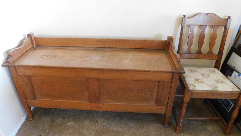 Lot # 85-Vintage Storage Bench with chair (main image)