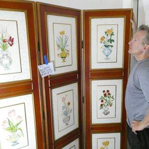 Auction Thumbnail for: Lot # 307 hand painted room divider