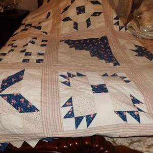Auction Thumbnail for: Lot # 97- Handmade blue and white queen size quilt