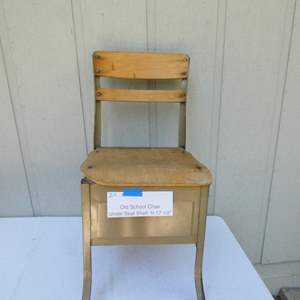 Auction Thumbnail for: Lot # 219-1950's Old school chair, under seat shelf