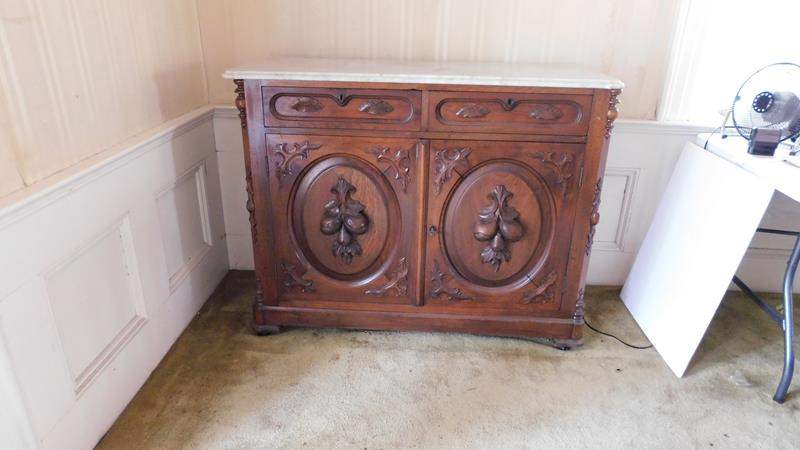 Lot # 4- Antique Victorian Sideboard | Marble Top (main image)