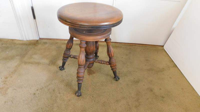 Lot # 9- Antique wooden stool (main image)
