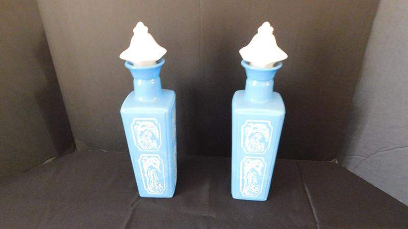 Lot # 11-Vintage Cameo, Bisque, ceramic bottles with cork top (main image)