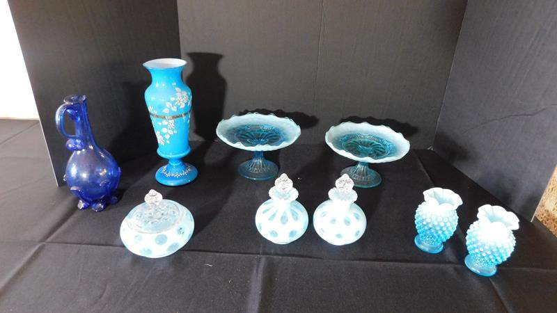Lot # 14- Blue depression glass perfume bottles, Candy Tray, Vases  (main image)