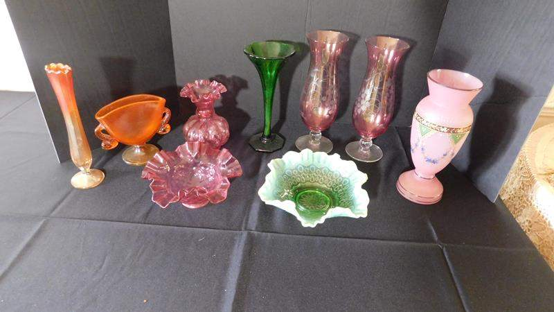 Lot # 15- Colored Glassware   Depression Glass vases   Dishes (main image)