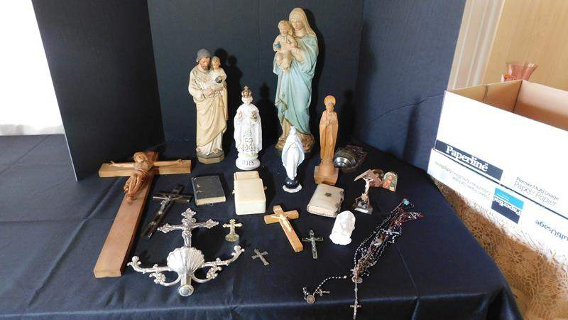 Lot # 18- Vintage Religious Items | Crucifix | Bibles | Mother of Pearl Rosary (main image)