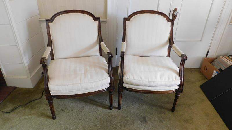 Lot # 27- Two cream Vintage / Antique Victorian Chairs with arms (main image)