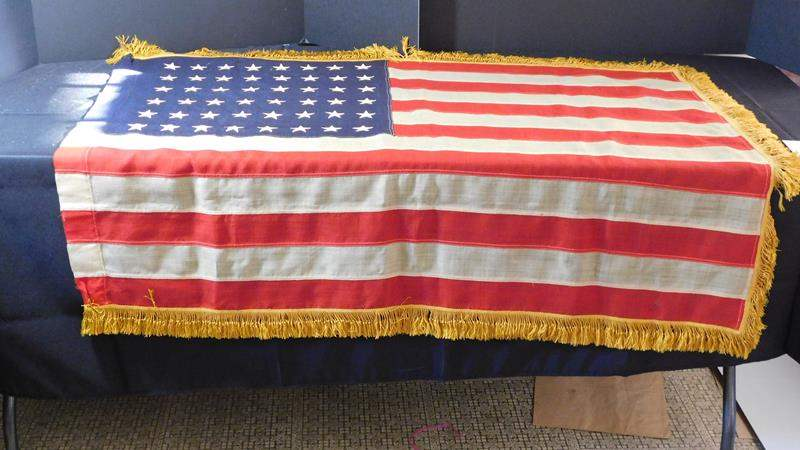 Lot # 34- Mid- Century American flag with pole - 48 stars  (main image)