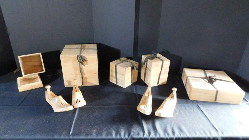 Lot # 48- wooden boxes and wooden shoe tree (main image)