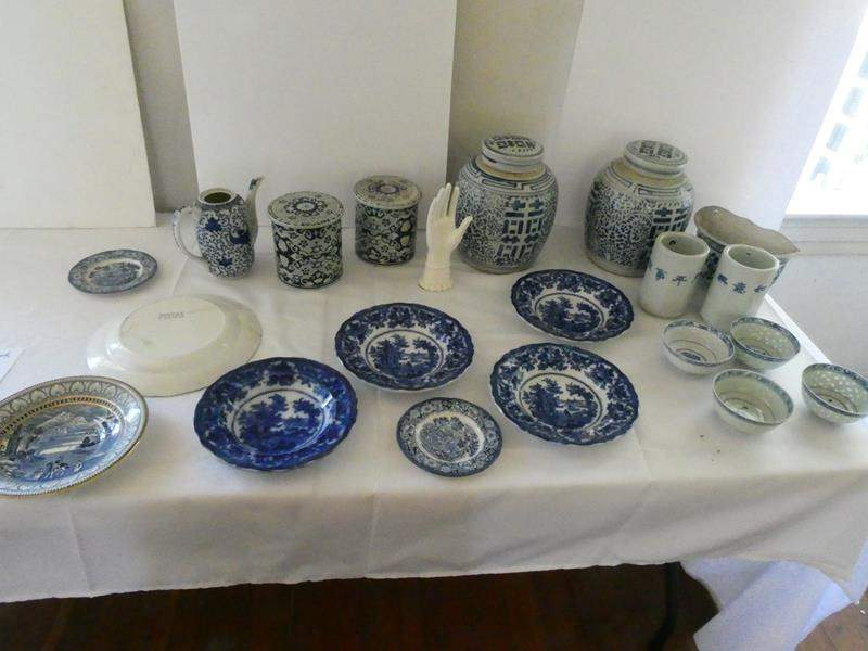 Lot # 108- Antique Blue China plates, bowls, pots, and more (main image)