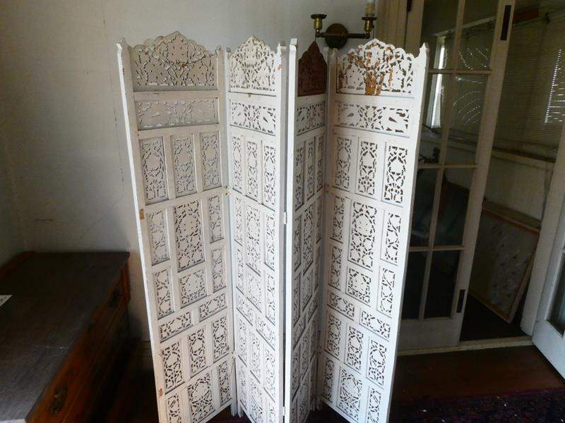 Lot # 114-Antique room partition / divider painted white with leaf designs. (main image)