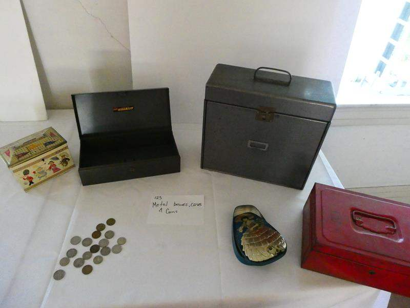 Lot # 123- Metal boxes, cases, and foreign coins (main image)