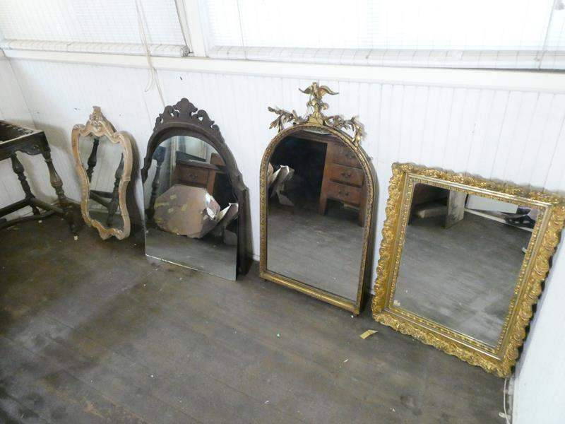 Lot # 134- Four victorian style mirrors & table base (main image)