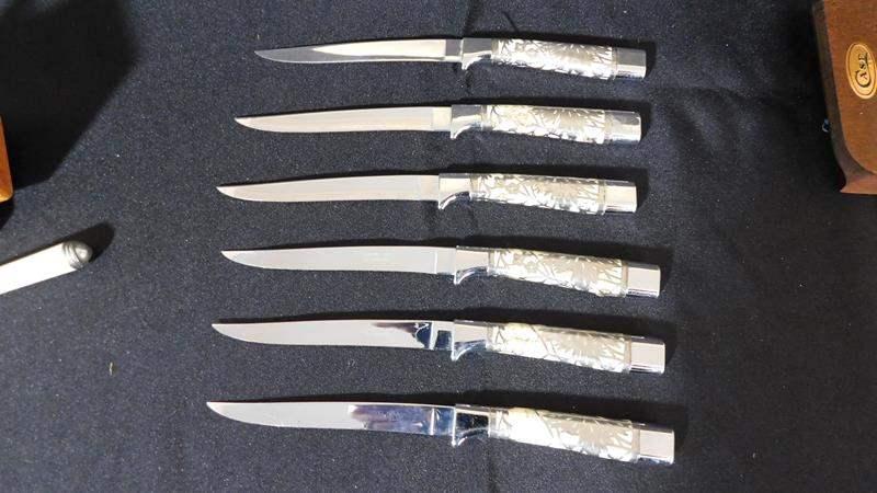 Lot # 55- Vintage India serving set   2 knife sets   Sharpener (main image)