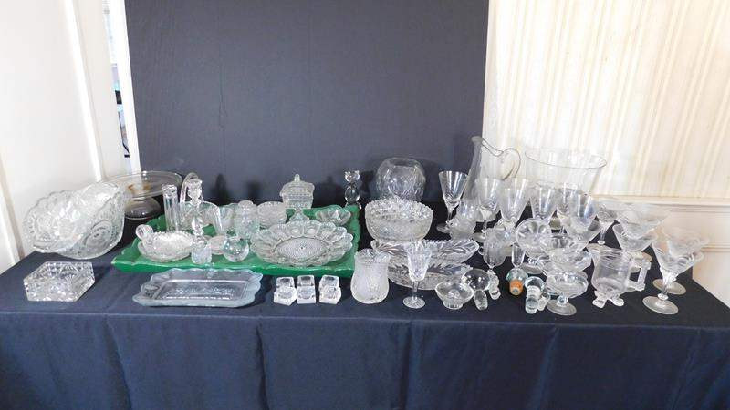 Lot # 56- Assorted crystal and glass ware.  (main image)