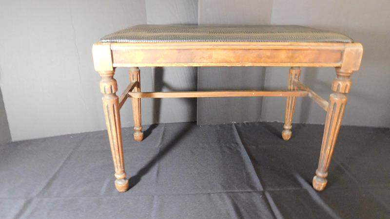 """Lot # 60- Antique bench by """"Sligh 1880 furniture co. """"  (main image)"""