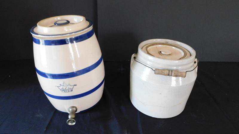 Lot # 70-Two vintage blue and creme pottery pots and lid.  (main image)