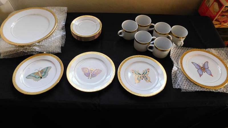 Lot # 84- Gold Buffet Royal Gallery Butterfly tea dish set (main image)