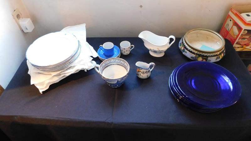 Lot # 85- plates from England, blue plates, Fleur de lis cups, saucers, bowls (main image)